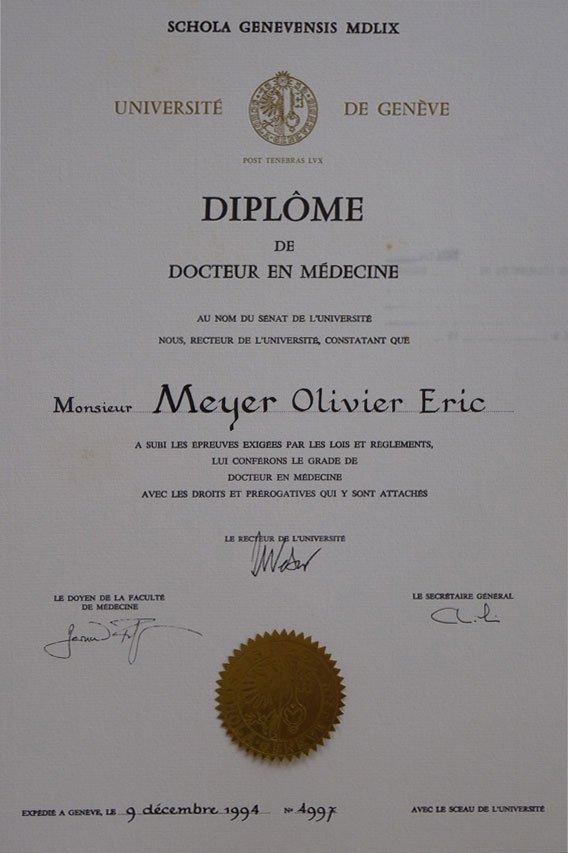 HUG Diploma Dr.Olivier Meyer